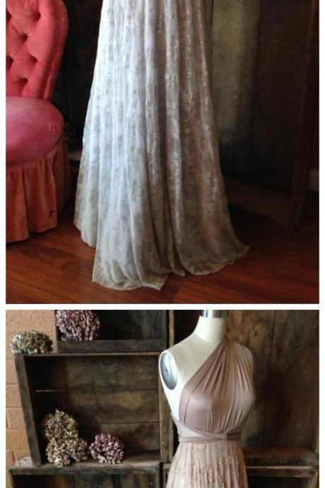 Bridesmaid Dresses,Custom Bridesmaid Dresses,Prom Dresses,Long Bridesmaid Dress,Elegant A-Line One Shoulder Long Bridesmaid Dress With Lace