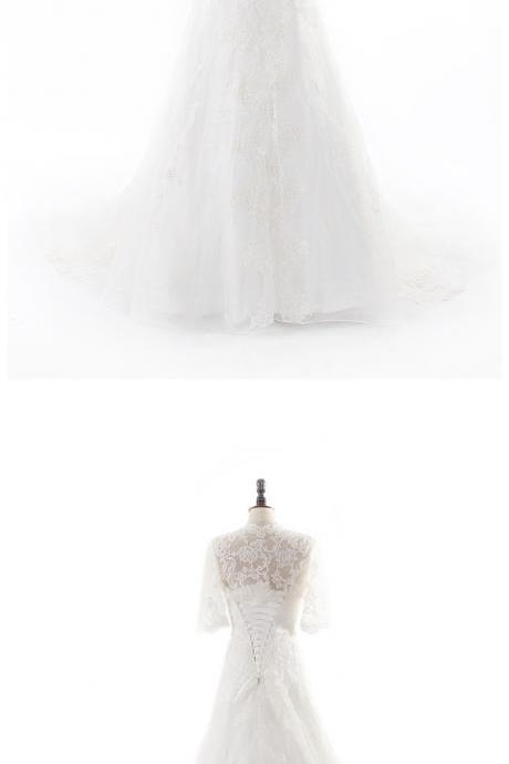 CLASSIC LACE HALF SLEEVE WEDDING DRESS WITHOUT Wedding Dress Bridal Dress Gown
