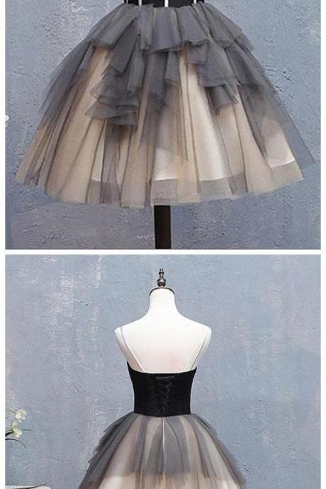 Sweetheart neck gray tulle homecoming dress short ruffles prom dress, party dress with applique