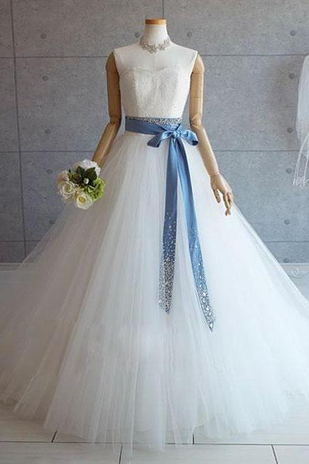 WHITE TULLE LACE LONG POM DRESS, WHITE TULLE WEDDING DRESS , APPLIQUE LONG PROM DRESSES EVENING DRESS