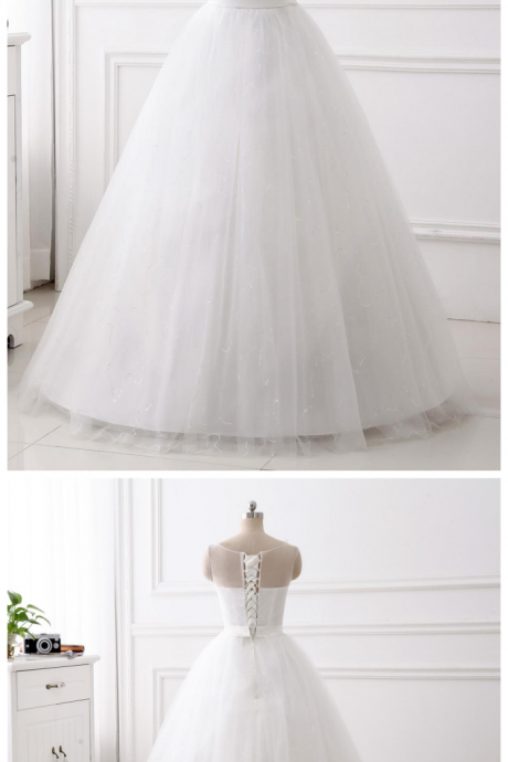 A-line 3D Flower Applique wedding dress ,scoop neck wedding dress , Luxury beading cap sleeves wedding dress,floor length bridal dress