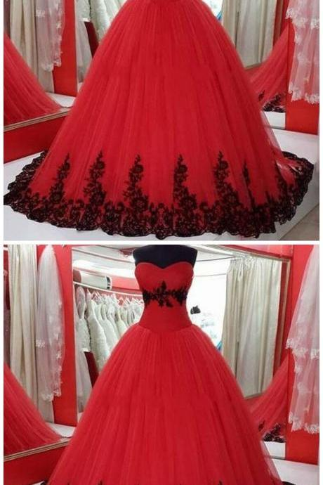 Red Plus Size Wedding Dresses Real Pictures Ball Gown Sweetheart Gothic Black Lace Princess Cheap Wedding Gowns