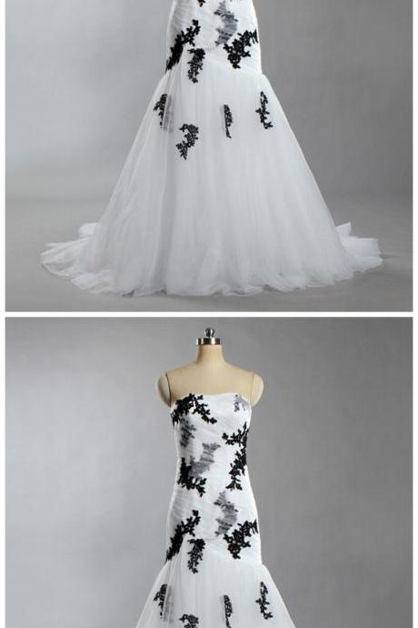 Women's Strapless Flowers Tulle Ball Gown White and Black Wedding Dresses For Bride