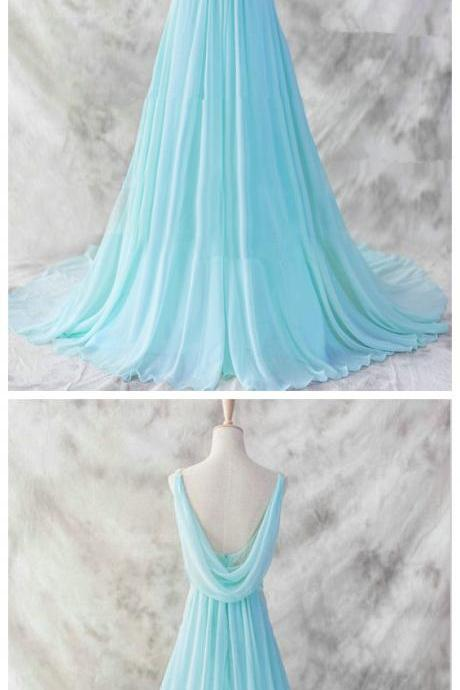 Pretty Baby Blue Chiffon Floor Length V-neckline Prom Gown, Baby Blue Evening Dresses,Blue Formal Dresses, Formal Dresses,girls party dress, sexy prom Dresses,homecoming dress, cheap long sexy prom dress