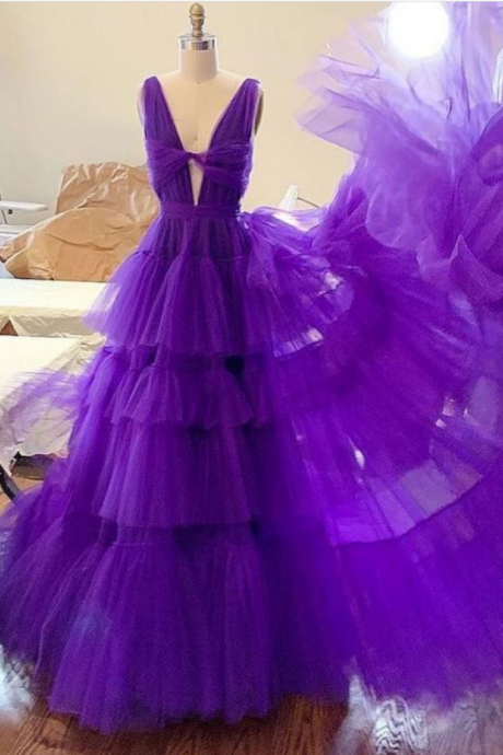 tulle long prom dress, tulle evening dress