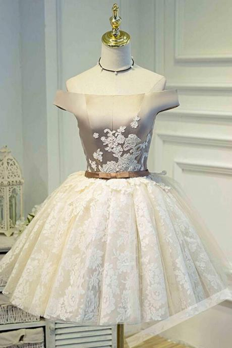 Charming Prom Gown,Elegant Prom Dress,Lace Homecoming Dress,Off Shoulder Graduation Dress