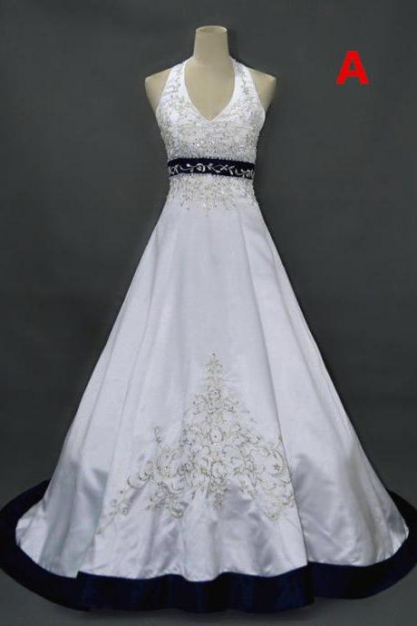 Formal Embroidery Halter Satin Long Ball Gown Bridal Wedding Dresses Formal Floor Length