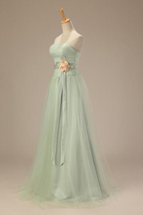 Bridesmaid Dress Light Green Long Evening Dress Prom Dress Custom Made A Line Bridal Party Dress