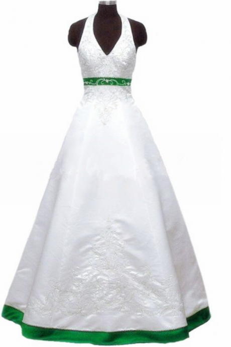 Halter Neck Satin Embroidery Wedding Dresses beaded Women bridal Gowns