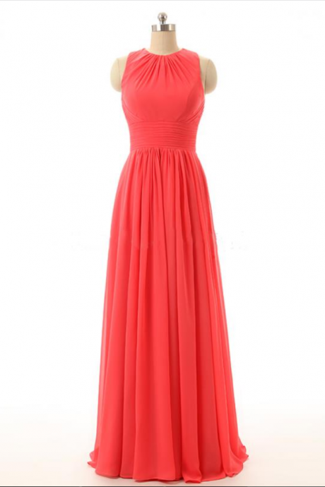 Elegant Backless Coral Bridesmaid Dresses, Beautiful Floor Length Bridesmaid Dresses, Wedding Party dresses,Formal Gowns,Prom Dresses,Evening Gowns