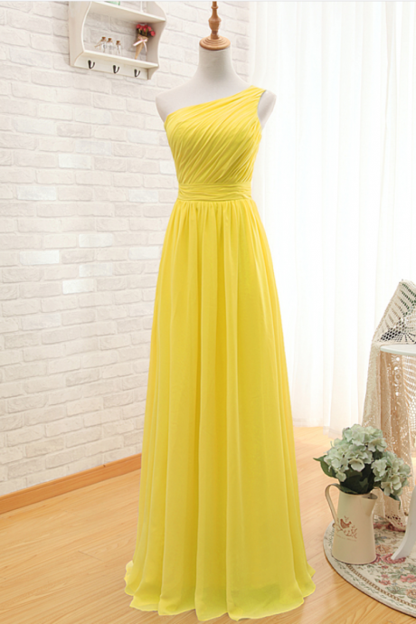 One Shoulder Prom Dress,Yellow Prom dresses,Custom Made Prom Dress, Vintage Prom Dress,Long Prom Dresses,2016 Prom Dresses