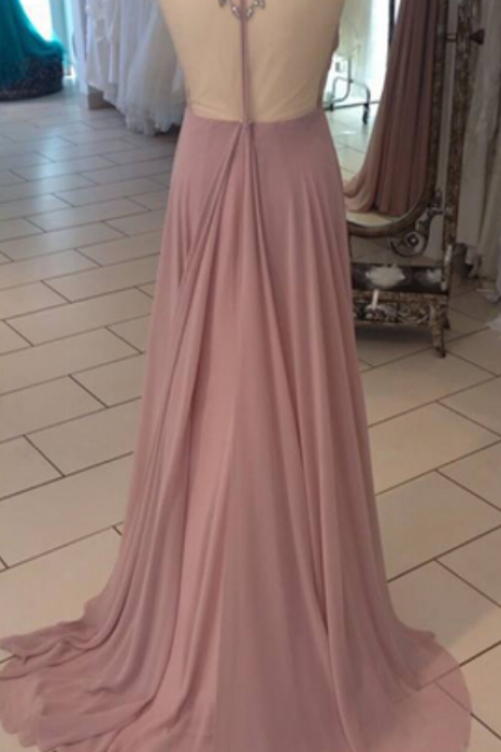 Sexy Prom Dress,Sheer Neck Prom dresses,Backless Prom Dresses,Custom Made Prom Dress, Chiffon Prom Dresses, Sexy Prom Dress, Long Prom Dresses,2016 Prom Dresses