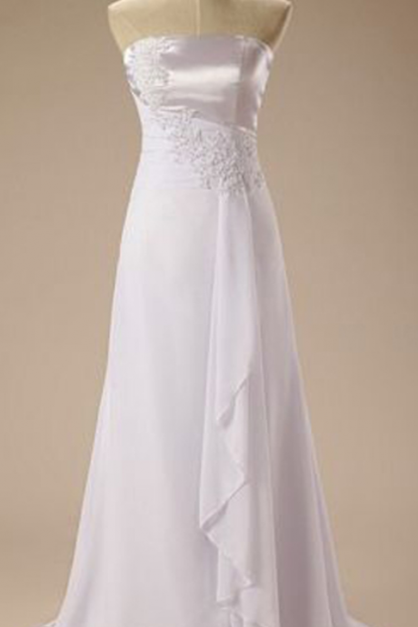 White Strapless Lace Appliqués A-line Chiffon Wedding Dress, Bridal Gown