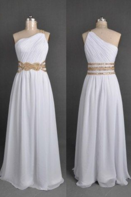 Hot Sale Chiffon Floor Length Strapless One Shoulder White Prom Dress , Party Dresses, Evening Dresses, Long Prom Dress 2016,Graduation Dresses