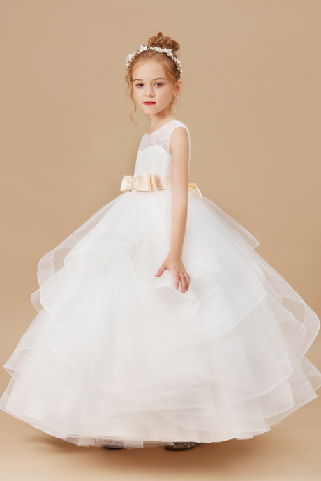 Flower girl dresses,Elegant Princess Children Party Dress Wedding Gown Kids Dresses for Girls Birthday Party New Year Dress