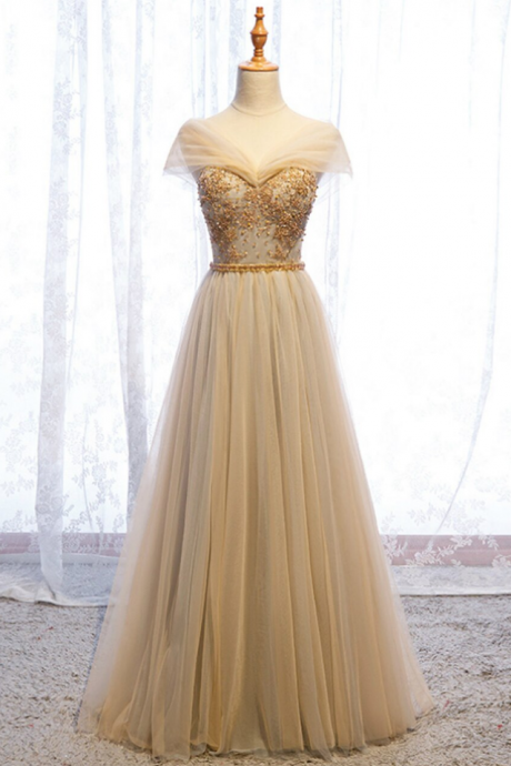 Tulle V-neck Beading Sequins Prom Dress