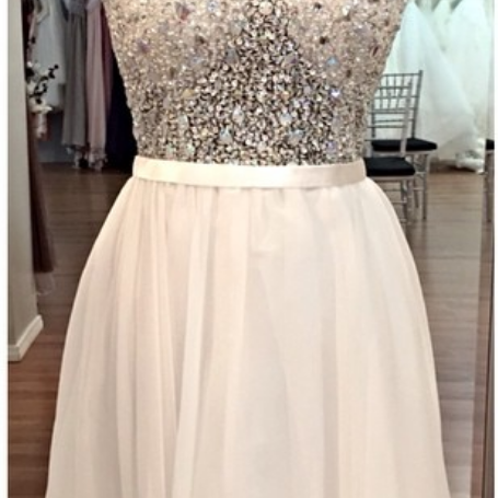 White Homecoming Dress,Beading Homecoming Dresses,Homecoming Dresses