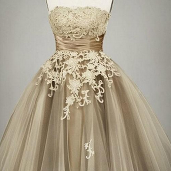 Gold Homecoming Dresses, Lace Homecoming Dresses, Cute Homecoming Dresses, Tulle Homecoming