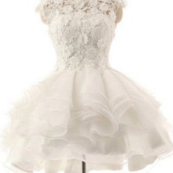 White Puffy Prom Dress Short White Homecoming Dresses