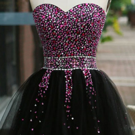 Strapless Sweetheart Beaded Tulle A-line Short Homecoming Dress, Cocktail Dress, Party Dress