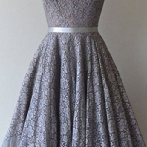 Grey Lace Vintage A-line Zipper Back Homecoming Dresses