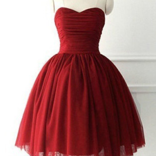Burgundy Ruched Sweetheart Short Tulle Homecoming Dress Featuring Lace-Up and Bow Accent Back
