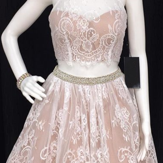 Homecoming Dresses,white lace two piece homecoming dresses with beaded neckline Dresses