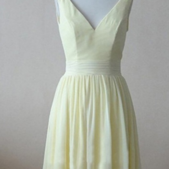 Short Chiffon Homecoming Dress Customized, Sleeveless V-Neck Short/Mini Chiffon Backless Dresses