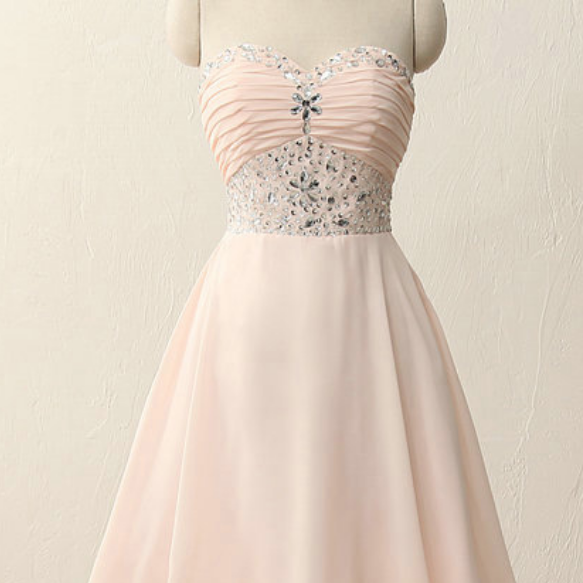 Short Pink Homecoming Dress With Ruched Sweetheart Beaded Embellished Bodice