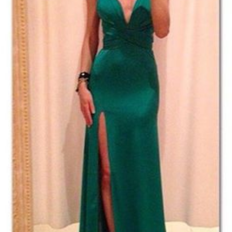 Pretty Simple V-neck Long Green Prom Dresses,Front Split Backless Prom Gowns