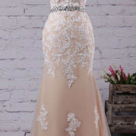 Tulle Prom Dresses,Long Prom Dresses,Evening Dress,Prom Gowns,Mermaid Prom Dresses,Scoop Neck Prom Dress,Tulle Prom Dresses With Sweep Train, Appliques Lace Prom Dresses,Champagne Prom Dresses,Pretty Prom Dresses, Prom Dress
