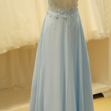 Long Chiffon Prom Dresses Scoop Neck Floor Length Appliques Party Dresses