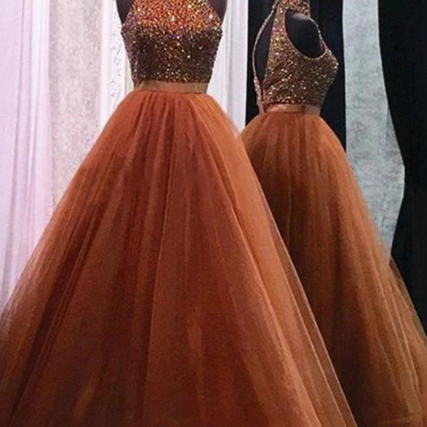 High neck a-line tulle prom dresses with crystals floor length Party dresses custom made women dresses