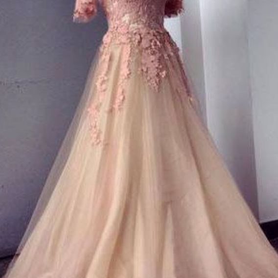 Appliques and Tulle Prom Dresses, Floor-Length Prom Dresses, Sexy Prom Dresses, Half Sleeve Prom Dresses, Charming Evening Dresses