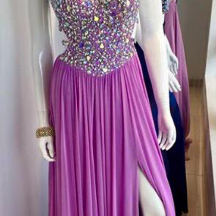 Purple Chiffon Prom Dresses, Open Back Prom Dresses, Crystals Women Party Dresses, Custom Made
