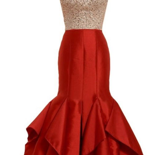 New Style Red Satin Backless Evening Dress Formal Gowns