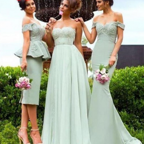 Sage Bridesmaid Dresses,Sweetheart Bridesmaid Dress,Different Style Bridesmaids Dresses,Long Prom Dress,Tea Length Bridesmaid Dress,