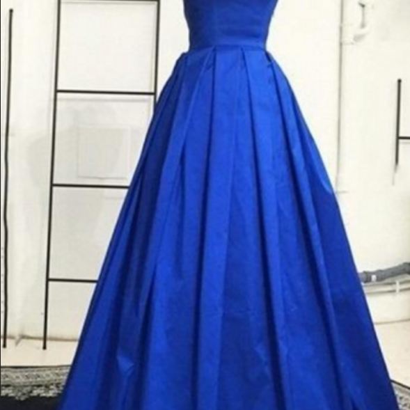 Royal Blue Backless Spaghetti Straps Ruched Brush Train Evening Dresses