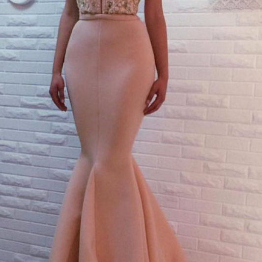 Slim Pink Prom Dresses,Mermaid Prom Dress, Beaded Top Cap Sleeve Prom Gown