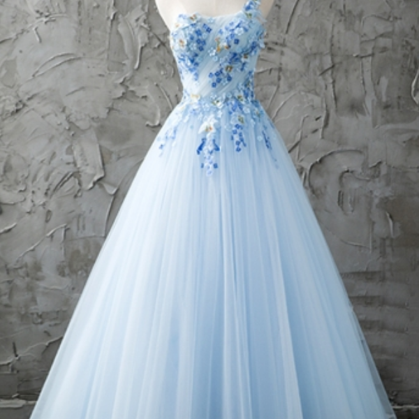 Blue One-Shoulder A-Line Beading Pleats Floor-Length Prom Dress