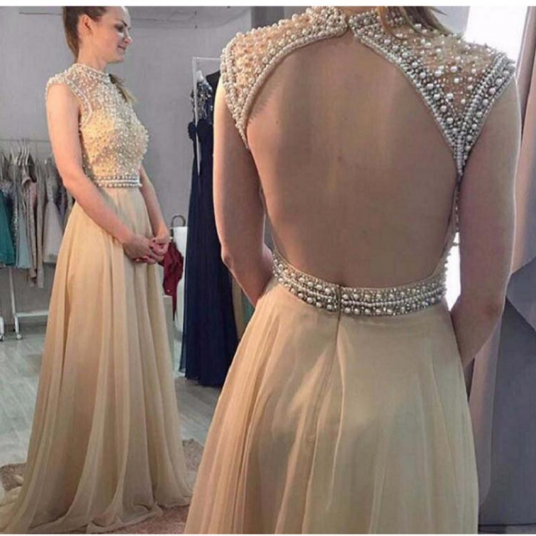 Prom Dresses,A-line Prom Dresses,Beaded Prom Dresses,Champagne Prom Dresses,Evening Dresses,Open Back Prom Dress,Party Dresses