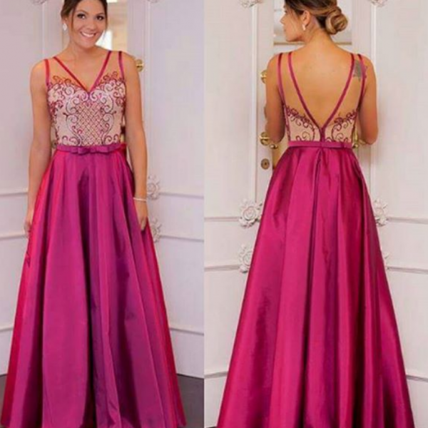 Pink Prom Dresses,Pink Prom Dresses,Long Satin Prom Gown