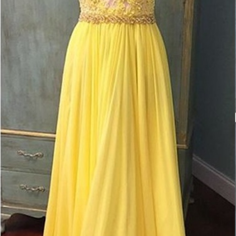 Elegant Yellow Formal Dress V Neck Party Dress,Lace Tops Chiffon Prom Dress