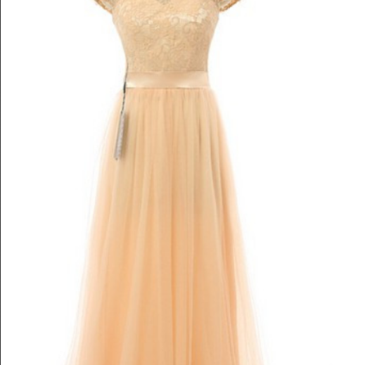 Chiffon Prom Dress, Long Prom Dresses, Prom Dress with Lace,Tulle Evening Dress