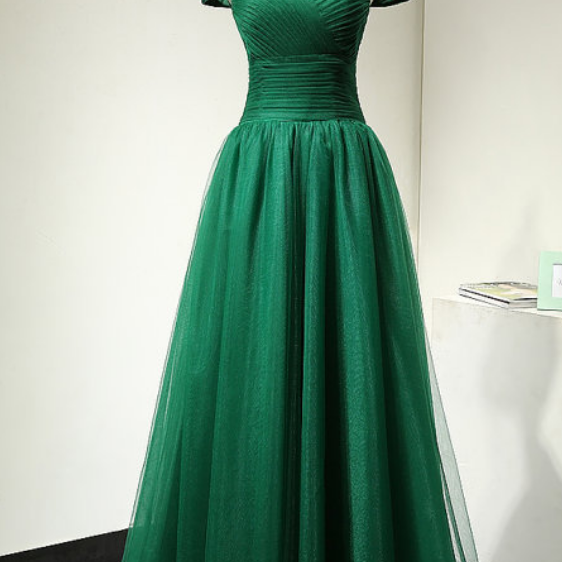 Off Shoulder Green Tulle Prom Dresses Pleat Floor Length Women Party dresses