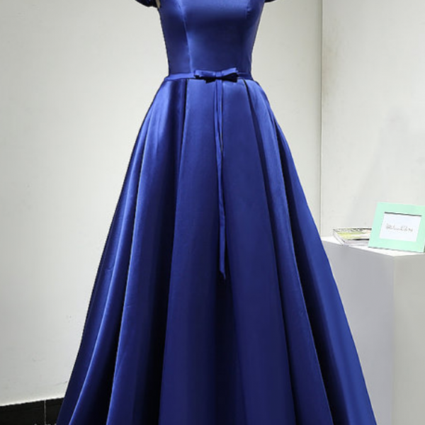 off Shoulder Dark Blue satin prom Dresses Custom Made Women Party Dresses