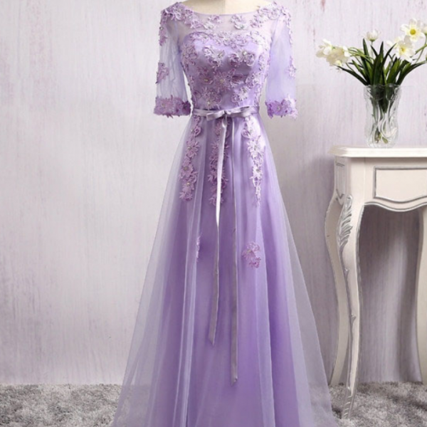 Dress party a purple evening party a beautiful clear Appliques lace half sleeve party robes