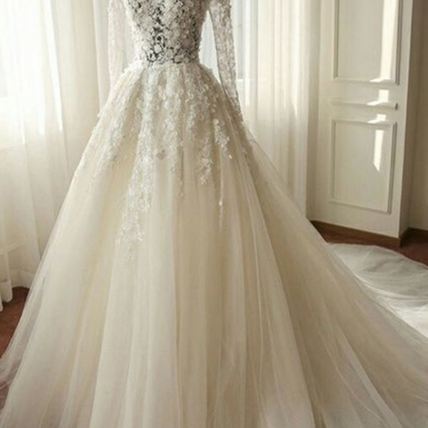 White chiffon lace wedding dress,long sleeves wedding dresses,see-through A-line long Bridal dresses,wedding dresses