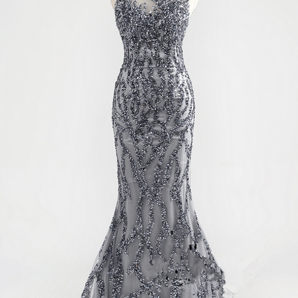 Incredible luxury gray crystal O - cou Arab sexy mermaid formal party quality evening dress