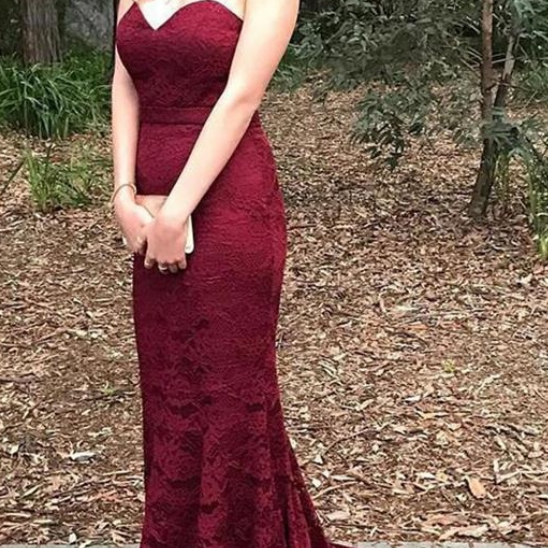 Burgundy Long Lace Prom Dresses,Mermaid Sweetheart Prom Gowns,Handmade Open Back Evening Dresses,Women Dresses,Sexy Party Dresses